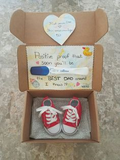 "How I decided to reveal our pregnancy news to my husband!!  Converse crib shoes because he loves his Chuck Taylor's & red because as a toddler my first high-top ""basketball"" shoes were red Converse!  Love the sentimental value & it's gender neutral BONUS!"