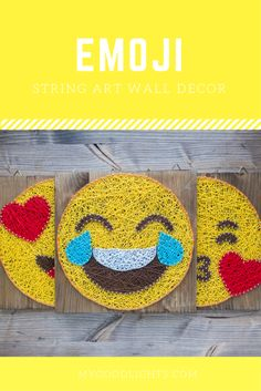 Modern and fun emoji wall art decoration in yellow