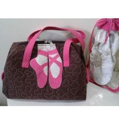 Ballerina-Gold Heart and Polka Dots on Pink Therapist Bag