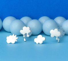 Cloud stud earrings rain cloud sun cloud lightning bolt cloud