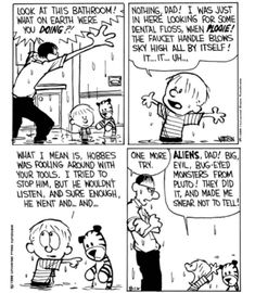 Calvin And Hobbes Comics, Fooling Around, Dental Floss, Sky High, Dads, Humor, My Love, Illustration, Funny