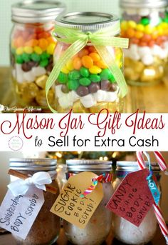 Looking for a way to make extra money? Here are Mason Jar Gift Ideas to Sell for Extra Cash! These are especially great for making money for Christmas. Learn how to make these here!  http://www.whatmommydoes.com