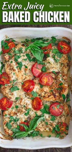 Juiciest ever baked chicken breast recipe! This is a must-try! And you'll love the simple Italian seasoning. Comes together in less than 30 minutes. Italian Baked Chicken, Juicy Baked Chicken, Baked Chicken Breast, Mediterranean Diet Recipes, Mediterranean Dishes, Quick Chicken Recipes, Easy Recipes, Greek Recipes, Amazing Recipes