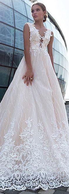 Graceful Tulle Bateau Neckline A-line Wedding Dress With Lace Appliques & 3D Flowers & Beadings