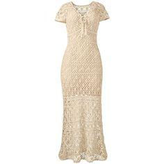 Venus Plus Size Women's Crochet Maxi Dress found on Polyvore featuring polyvore, plus size women's fashion, plus size clothing, plus size dresses, brown, macrame dress, plus size brown dress, macrame maxi dress, maxi dresses and lined dress