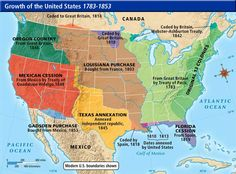 Westward Expansion Map of the U.S.a. | This is a map of the growth of the U.S. from the years 1783-1853.