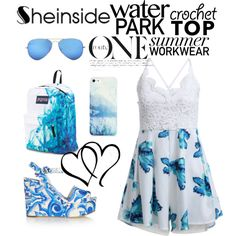 Sheinside White Spaghetti Strap Lace Floral Jumpsuit ^^ by magic001 on Polyvore featuring moda, Dolce&Gabbana, JanSport, BlissfulCASE, Ray-Ban, blueandwhite, Blue and Sheinside