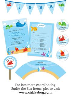Under the Sea Party Photo Invitations Professionally by Chickabug