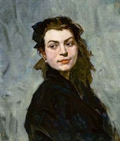 Retrato de dama al óleo por Russov.