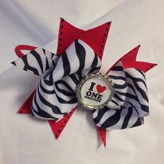 #bjsbowbows #bow #hairbow #headbandbow #headband #zebrabow #zebraprint #redandblack #blackandwhite #onedirection #1D #iloveonedirection #ilove1d #handmade #bottlecap