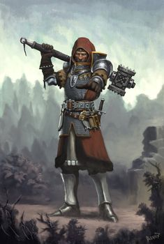 Cleric veteran with a rather nasty looking warhammer. This is a really great pic, his expression is one of determination and you get the feeling that he's survived a lot of battles. Fantasy