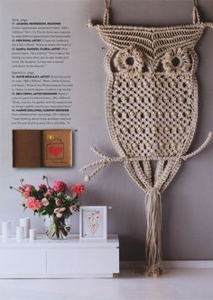 Giant owl (cotton rope, wooden beads, wire frame) by Gloss Creative Australia for Sportsgirl Bourke Street Superflagship store. Featured in InsideOut magazine as part of the magazine's 10th anniversary auction