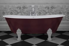 Schooner Freestanding Roll Top Cast Iron Bath - Brinjal