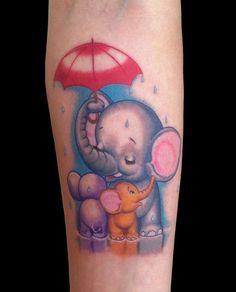 Elephant Family Tattoo With Umbrella : Elephant Tattoos Elephant Family Tattoo, Cute Elephant Tattoo, Elephant Tattoo Design, Elephant Quotes, Cartoon Elephant, Family Tattoos, Couple Tattoos, Love Tattoos, Body Art Tattoos