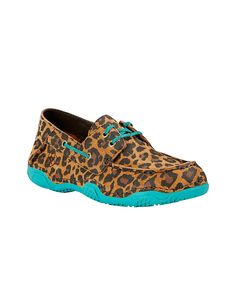 Ariat Women's Tan Leopard Print with Turquoise Trim Round Toe Shoe | Cavender's