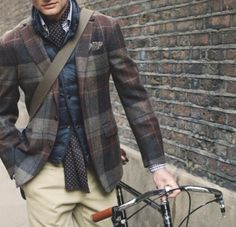 Love layers on a guy... Also love plaid blazers