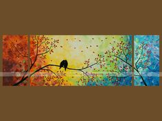 Over The Rainbow Love Birds Tree Oil Painting Hd Wallpapers