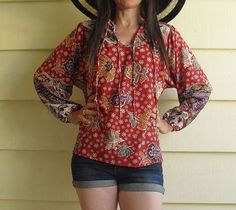 vintage 70's blouse red oaxacan top mexican blouse by MindfulGrace