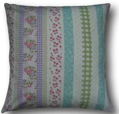 """Cushion Cover Handmade With Laura Ashley's Clementine Pink Striped 16"""" Scatter"""
