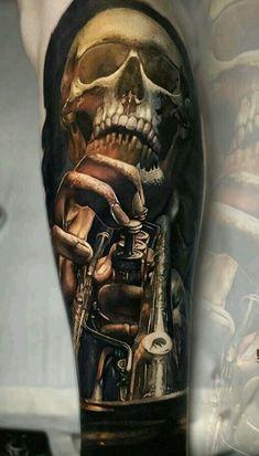 Made by Sasha O'Kharin Tattoo Artists in St. Skull Tattoo Design, Skull Tattoos, Body Art Tattoos, Tattoo Designs, Tatoos, Dr Tattoo, Sick Tattoo, Wicked Tattoos, Badass Tattoos