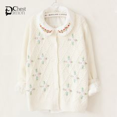 Ladies fashion sweater on Demon's Chest.Harajuku Women's Sweet Flower Embroidery Hollow-out Lace Doll Collar Knit Sweater roomy, soft, and not thick. Perfectly designed for autumn and winter .Sweet style,full of young vitality and glamour.  ---Fabric : PC  ---Popular Element : Splice , Flower Embroidery , Hollow-out , Lace , Doll Collar  ---http://demonchest.storenvy.com