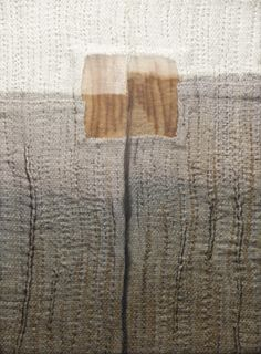 Departure -- Hand woven cotton, paper, linen, rust print, layered with dyed silk organza, with stitching | Karen Henderson