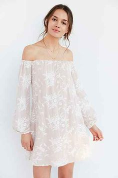 Ecote Embroidered Off-The-Shoulder Mini Swing Dress - Urban Outfitters-rayon polyester