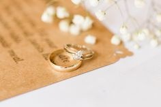 Custom Wedding Invitation and Gold Rings