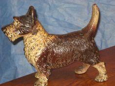 ANTIQUE CAST IRON DOORSTOP DOG FULL FIGURE picclick.com