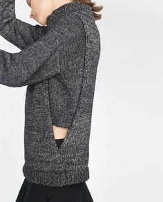 Grey layered cutout sweater, contemporary knitwear details // Zara
