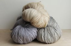 Clockwise from top, Cashmerino Luxe in Vintage Lace, Paper Birch, and Smoky Lilac