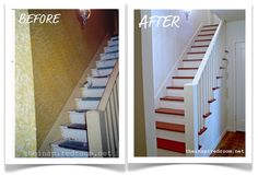 she has my stairs - wait mine are uglier ,, my newel post is prettier .. I love the 'idea' of red stairs but think a dark dark sagey green is more realistic - with stencils on the riser