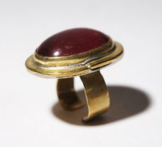 Rafael Canada Ring Raspberry Red Adjustable Band by LuckyPatina Brutalist, Red Glass, Handcrafted Jewelry, Jewelry Crafts, 1970s, Raspberry, Father, Take That, Jewelry Design