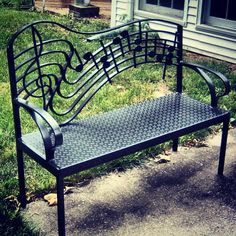 Wrought Iron Music Bench by Jim Glover.I will sit here & listen to my Dwight Yoakam 's CDs.Really LOUD. Studio Musical, Music Furniture, Furniture Design, Piano Music, Music Lovers, Outdoor Furniture, Outdoor Decor, Metal Art, Good Music