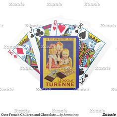 Cute French Children and Chocolate Bar Bicycle Playing Cards