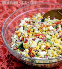 Salad with corn, sweet red peppers, jalapenos, queso fresco, avocado, and a tangy lime-cilantro vinaigrette.