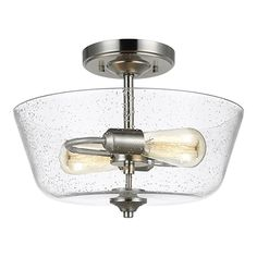 55fdbbe33ff Progress Lighting Inspire Collection 13 in. 2-Light Brushed Nickel Semi- Flushmount
