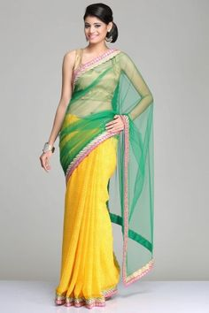 Yellow Georgette Saree With Hindi Chants Printed All-Over & A Green Net Drape With Gold Leaf And Pink Stripe Border And Pink Soft Brocade Blouse Piece