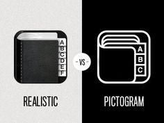 Dribbble - Icon - Realistic vs Pictogram by Leigh Hibell