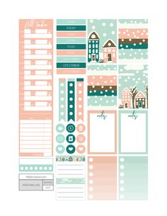 Winter Wonderland free printable monthly planner kit.  Includes printable planner stickers in classic happy planner size, weekly planner and much more.