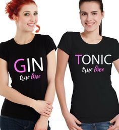 64c8832dcc Details about Gin and Tonic True Love Gay Couple Her and Her matching black  T-shirts set