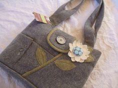 Pink Blooms Repurposed Wool Jacket Handbag Repurposed