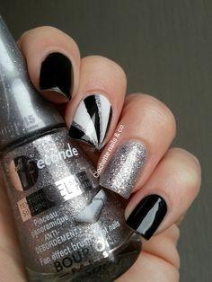 Nail Art Graphique Noir et Argent