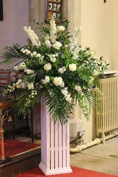 If you're planning on having your wedding in a church, you need to consider the best wedding flowers for your venue. You will have an easy time choosing church wedding flowers to. Church Wedding Flowers, Altar Flowers, Church Wedding Decorations, Funeral Flowers, Flower Decorations, Wedding Centerpieces, Tall Centerpiece, Centerpiece Ideas, Silk Flowers