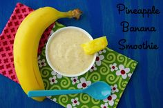 This cooling smoothie is delicious for babies to eat with a spoon, for toddlers through a straw or as Kenya did by dipping his fingers right in a licking the smoothie off his little digits.