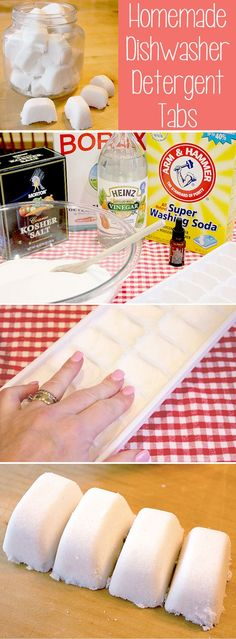 Homemade Ideas with Ice Cube Trays   Homemade Dishwasher Detergent Tabs by DIY Ready at  http://diyready.com/14-unexpected-ways-to-use-an-ice-cube-tray/