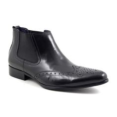 Find mens black brogue chelsea boots in polished leather with quality, style and a fair price. Designer touches in affordable mens boots. Brogue Chelsea Boots, Leather Chelsea Boots, Black Brogue Boots, Mens Brogue Boots, Cuban Heel Boots, Beatle Boots, Men In Heels, Walking Boots