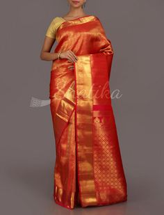 Sridevi Ravishing Red Gold Real Zari #DharmavaramSilkSaree