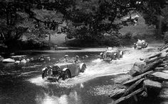 MG J2s make their way through a river at the Tarr Steps during the 1932  Barnstaple Trial