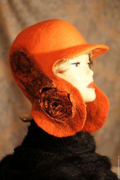 """Шапки ручной работы. Заказать Шляпка """"Оранжевое чудо"""". Odry. Ярмарка Мастеров. Ушанка, шляпка женская, подарок, шерсть меринос"""